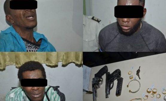 Polícia prende três assaltantes que roubaram uma joalheria no Suriname