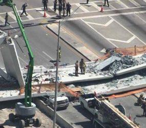 Ponte desaba em Miami e deixa pelo menos um morto