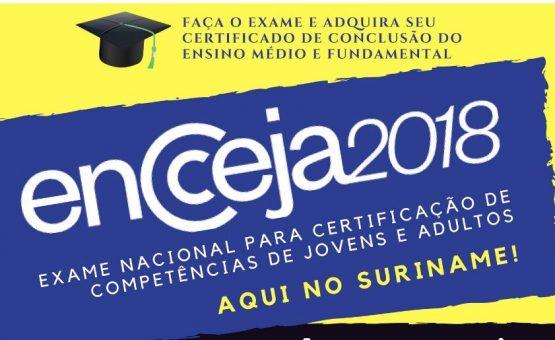Paramaribo está entre as cidades com maior números de brasileiros inscritos para o ENCCEJA 2018