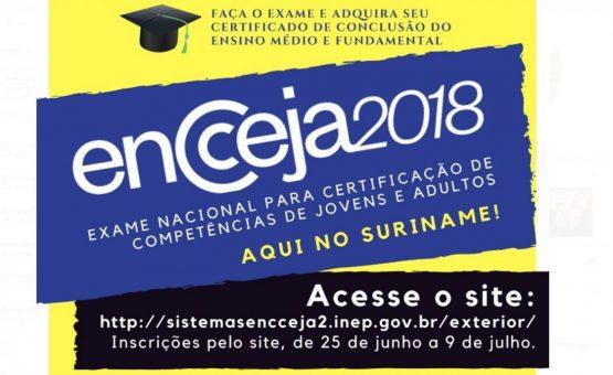 ENCCEJA oferece oportunidade para brasileiros que desejam concluir ensino fundamental e médio no Suriname