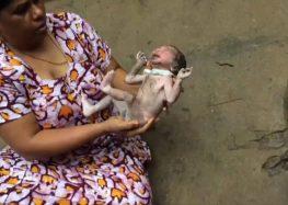 O momento em que um recém-nascido é resgatado de bueiro na Índia