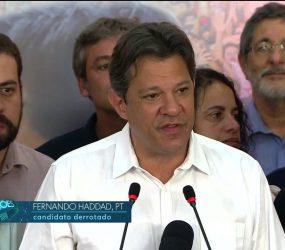 Haddad diz que defenderá liberdade de 45 milhões de eleitores: 'Não tenham medo'